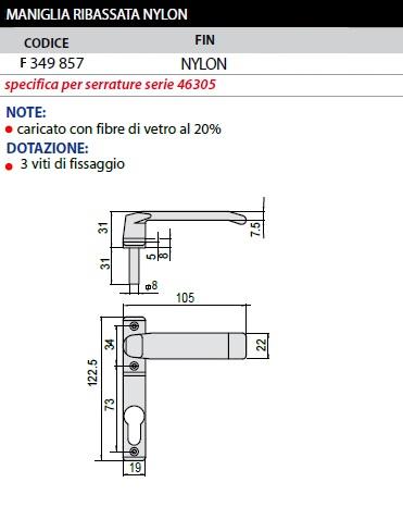 Maniglia Ribassata Nylon F349857 Serr 46305